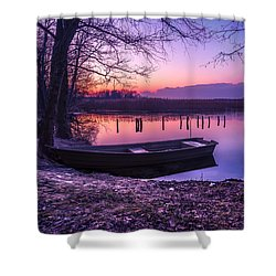 Sunset On The White Lake Shower Curtain