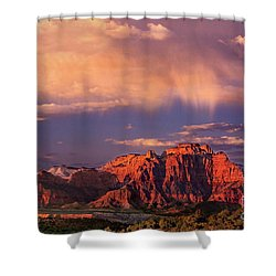 Sunset On West Temple Zion National Park Shower Curtain by Dave Welling