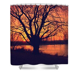 Sunset On Willow Pond Shower Curtain by Kathy M Krause
