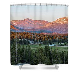 Sunset On Yosemite's Meadows Shower Curtain