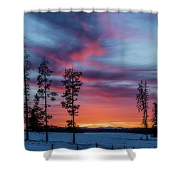 Sunset Over A Farmers Field, Cowboy Trail, Alberta, Canada Shower Curtain