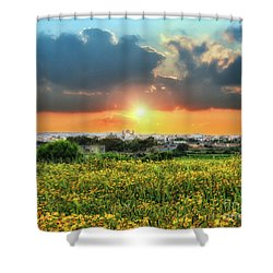 Sunset Over A Small Village Shower Curtain by Stephan Grixti