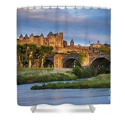 Sunset Over Carcassonne Shower Curtain by Brian Jannsen