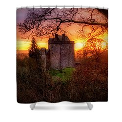 Shower Curtain featuring the photograph Sunset Over Castle Campbell In Scotland by Jeremy Lavender Photography