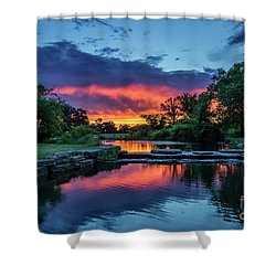 Sunset Over Deer Lake In Forest Park, St Louis, Missouri Shower Curtain by Garry McMichael