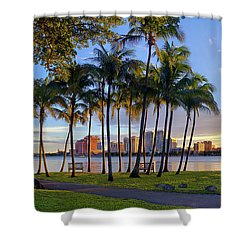 Sunset Over Downtown West Palm Beach From Palm Beach Island Shower Curtain by Justin Kelefas