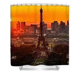 Sunset Over Eiffel Tower Shower Curtain