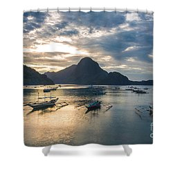 Sunset Over El Nido Bay In Palawan, Philippines Shower Curtain