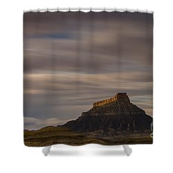 Shower Curtain featuring the photograph Sunset Over Factory Butte by Keith Kapple