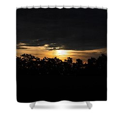 Sunset Over Farm And Trees - Silhouette View  Shower Curtain