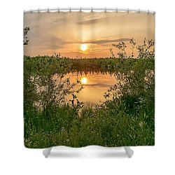 Sunset Over Fiddlers Lake Shower Curtain