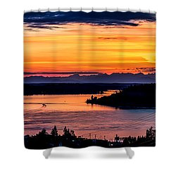 Sunset Over Hail Passage On The Puget Sound Shower Curtain by Rob Green