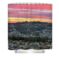 Sunset Over Happy Valley Residential Neighborhood Shower Curtain