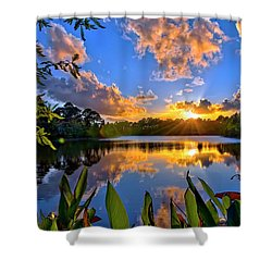 Sunset Over Hidden Lake In Jupiter Florida Shower Curtain by Justin Kelefas