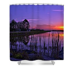 Sunset Over Hungryland Wildlife Management Area Shower Curtain by Justin Kelefas