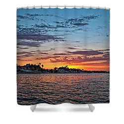 Sunset Over Huntington Harbour Shower Curtain by Peter Dang