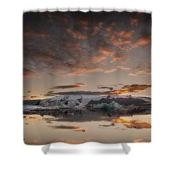 Sunset Over Jokulsarlon Lagoon, Iceland Shower Curtain
