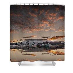 Sunset Over Jokulsarlon Lagoon, Iceland Shower Curtain by Chris McKenna