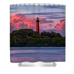 Sunset Over Jupiter Lighthouse, Florida Shower Curtain by Justin Kelefas