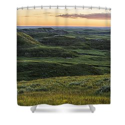 Sunset Over Killdeer Badlands Shower Curtain by Robert Postma