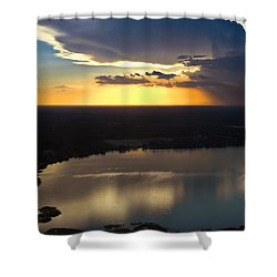 Shower Curtain featuring the photograph Sunset Over Lake by Carolyn Marshall