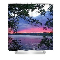 Sunset Over Lake Cherokee Shower Curtain
