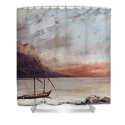 Sunset Over Lake Leman Shower Curtain by Gustave Courbet