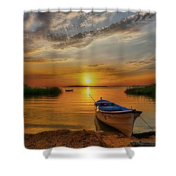 Sunset Over Lake Shower Curtain by Lilia D