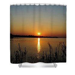 Shower Curtain featuring the photograph Sunset Over Lake Norman by B Wayne Mullins