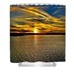 Sunset Over Lake Palestine Shower Curtain