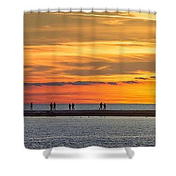 Shower Curtain featuring the photograph Sunset Over Ludington Panoramic by Adam Romanowicz
