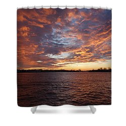 Shower Curtain featuring the photograph Sunset Over Manasquan Inlet by Melinda Saminski