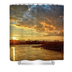 Sunset Over Marsh Shower Curtain by Bonfire Photography