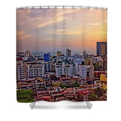 Shower Curtain featuring the photograph Sunset Over Miraflores, Lima, Peru by Mary Machare