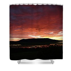 Shower Curtain featuring the painting Sunset Over Mormon Lake by Dennis Ciscel