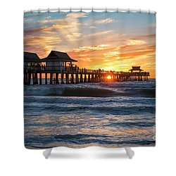 Shower Curtain featuring the photograph Sunset Over Naples Pier by Brian Jannsen