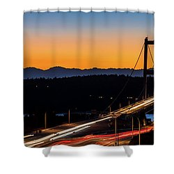 Sunset Over Narrrows Bridge Panorama Shower Curtain by Rob Green
