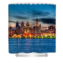 Sunset Over Philadelphia Shower Curtain by Louis Dallara