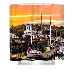 Shower Curtain featuring the photograph Sunset Over Port Townsend by TL  Mair