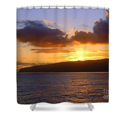 Sunset Over Reunion Island Shower Curtain