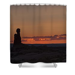 Sunset Over Rock Formation Shower Curtain
