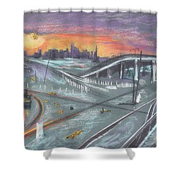 Sunset Over San Francisco And Oakland Train Tracks Shower Curtain by Asha Carolyn Young