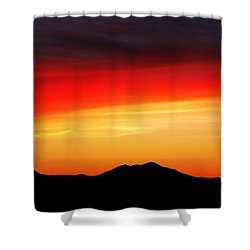 Shower Curtain featuring the photograph Sunset Over Santa Fe Mountains by Joseph Frank Baraba