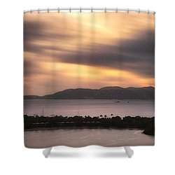 Shower Curtain featuring the photograph Sunset Over St. John And St. Thomas Panoramic by Adam Romanowicz