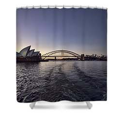 Sunset Over Sydney Harbor Bridge And Sydney Opera House Shower Curtain by Douglas Barnard