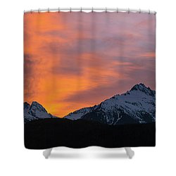 Sunset Over Tantalus Range Panorama Shower Curtain