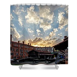 Sunset Over The Gondola Shop In Venice Shower Curtain by Jean Haynes