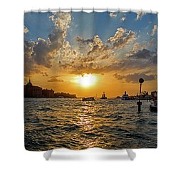 Sunset Over The Grand Canal In Venice Shower Curtain