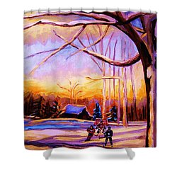 Sunset Over The Hockey Game Shower Curtain by Carole Spandau