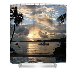 Sunset Over The Inifinity Pool At Frenchman's Cove In St. Thomas Shower Curtain by Margaret Bobb